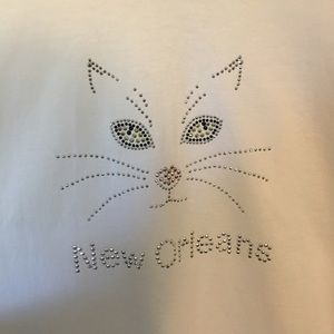 White t-Shirt with embellished cat face XL